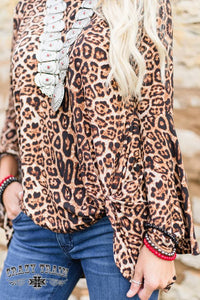 "Crazy Train Bell Sleeve Top Leopard  with Knot ""Knot For Long"""