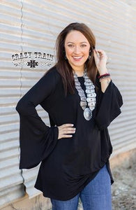 Crazy Train Black Midnight Bell Top With Knot