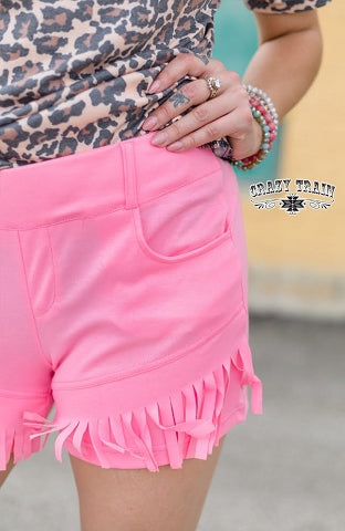 "Crazy Train Pink Fringe Shorts ""Pink Paradise"""
