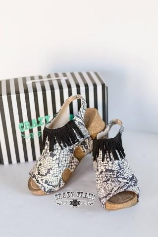 "Crazy Train ""Stomp Right There"" Python Design Fringe Wedge"