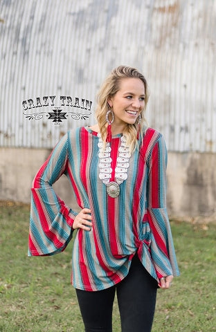 Crazy Train Bell Sleeve Knot Top Red with Turquoise Stripes