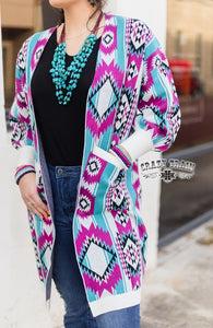 "Crazy Train ""CAPE COD CARDIGAN ** MAGENTA / TURQ AZTEC"""
