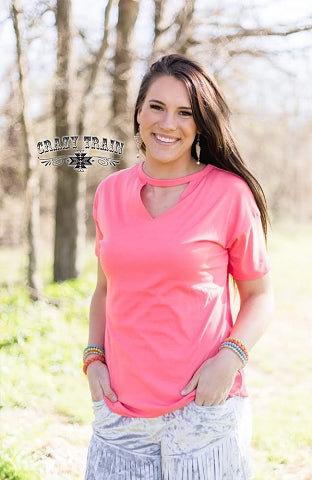 Crazy Train Textline V Neck Top With Keyhole Cut Out Many Colors to Choose From