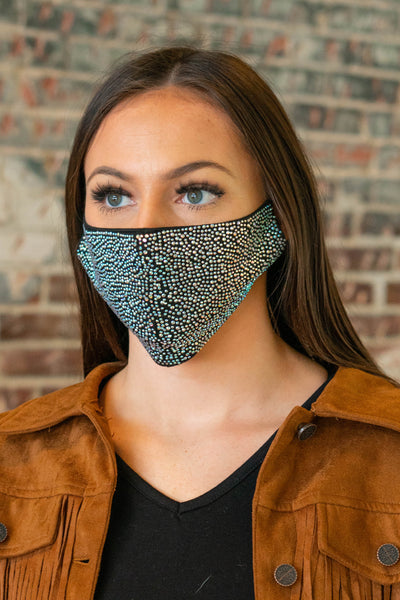 L&B Crystal Studded Face Mask Adjustable Strap Several Colors To Choose From