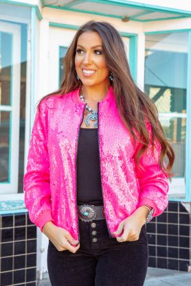 L&B Sequin Bomber Jacket Several Colors To Choose From