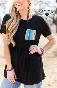 Crazy Train FRIENDLY TWIRL TOP ** BLACK W/ SERAPE POCKET
