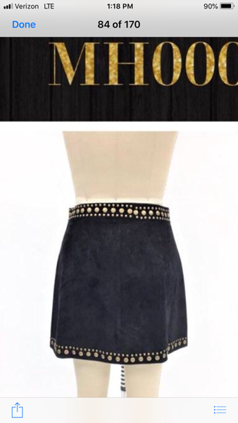 L&B Black Suede Studded Mini Skirt