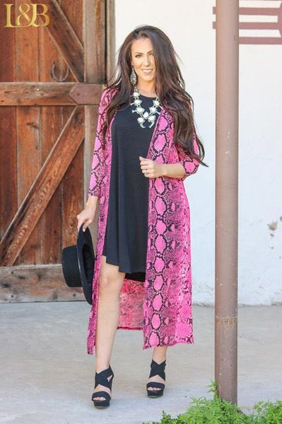 L&B Neon Snake Long Duster Several Colors to Choose From