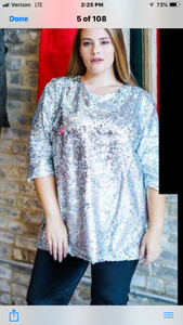 L&B 3/4 Sleeve Sequin Tops Several Colors To Choose From (Runs Big)