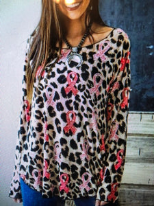 L&B Long Sleeve Leopard Top With Pink Brest Cancer Ribbon