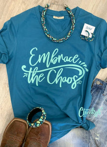"Cheekys ""Embrace The Chaos"" V-neck Blue Tee S-3XL"