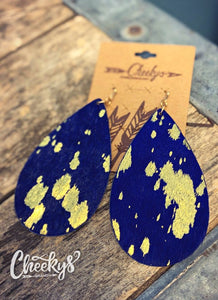 Cheekys Midnight Blue with Gold Hair on Hide Tear Drop Earrings