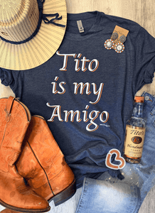 Cheekys Tito Is My Amigo Navy T Shirt Unisex