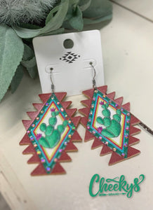 'Cheekys Original' ~Aztec Cactus Leather Earrings!