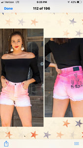 L&B Peach/Pink Ombre Shorts w/ Cactus Design On Back Pocket