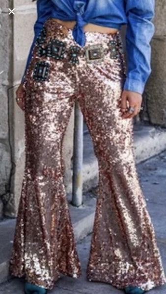 L&B Sequin Pants Bell Bottoms Side Zip