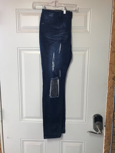 Dark blue skinny L&B jeans with cutouts and silver sequin patches LB-502