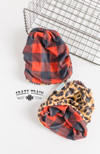 "Crazy Train Reversible Beanie ""BANDITO BUN BEANIE **"" Has opening to have bun or pony tail stick out.  Several Colors To Choose From"