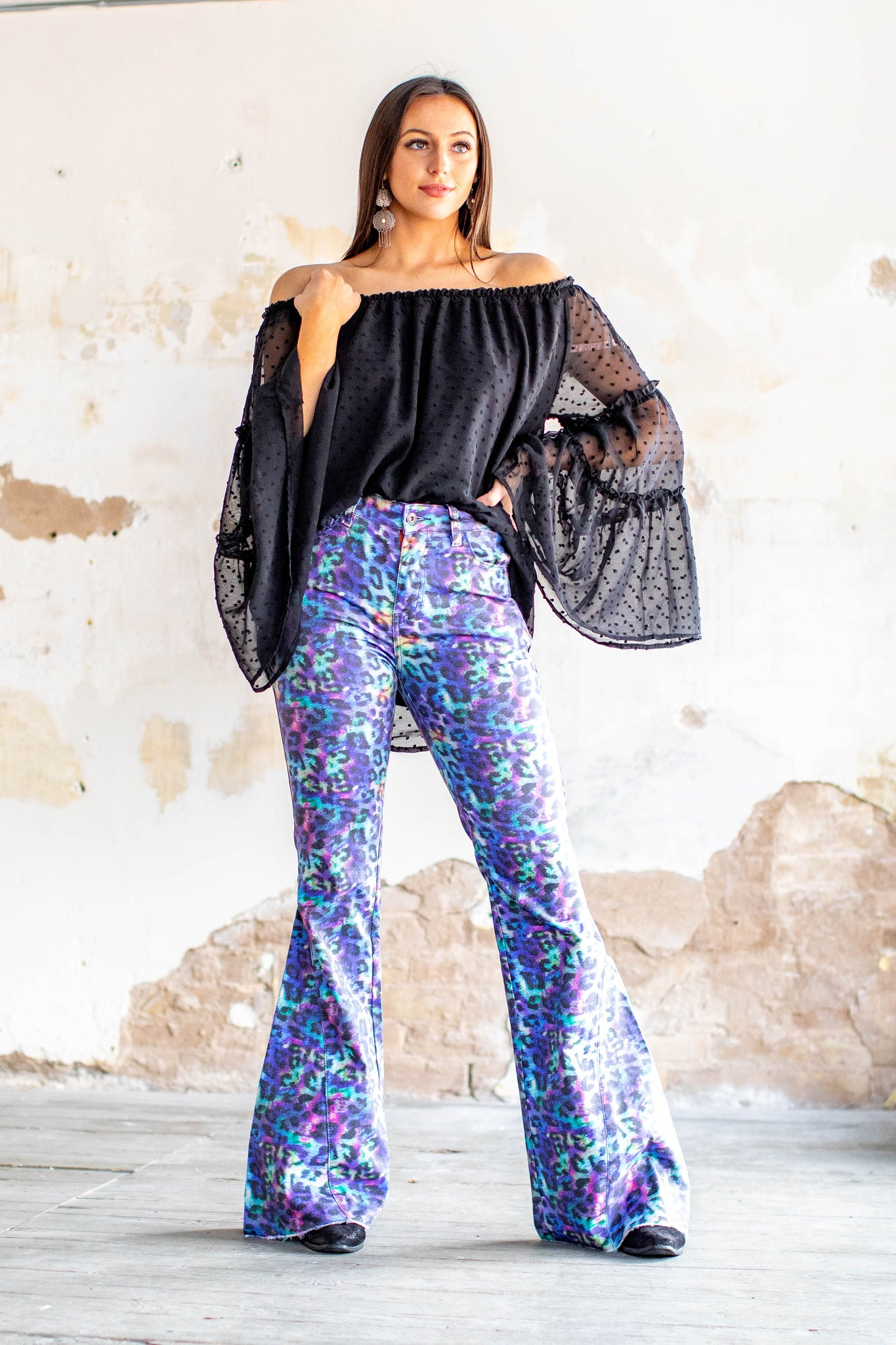 L&B Iridescent Leopard Bell Bottom Jeans