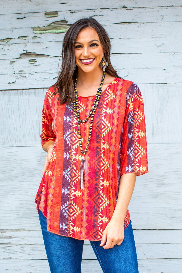 L&B Aztec 3/4 sleeve Top