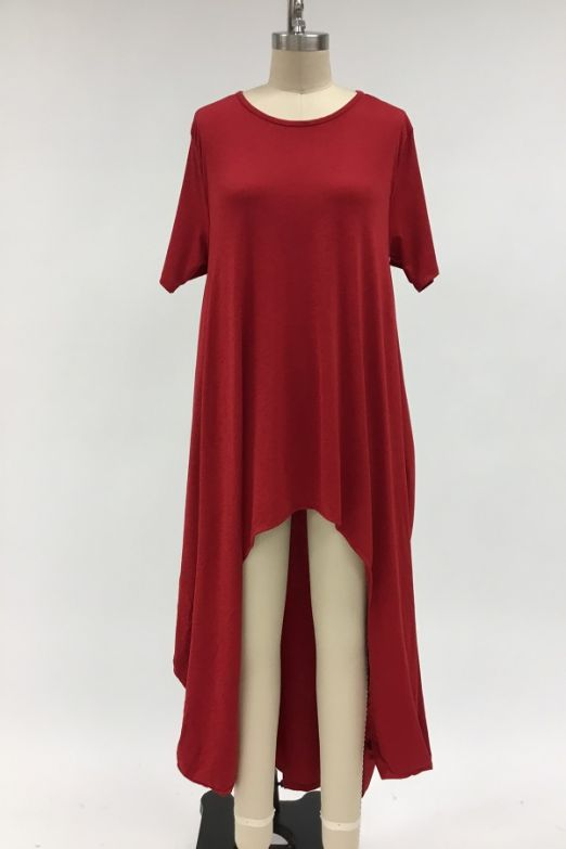 L&B Red High Low Top with Pockets