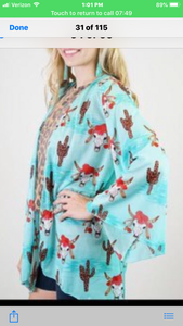 L&B Turquoise Short Kimono with Steer head & Cactus Design