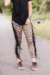"Crazy Train ""Look Out Leopard Skinnies"" Fringe Leggings"