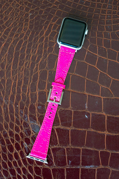 Tooled Leather Apple Watch band fits 38-40mm Several Colors To Choose From