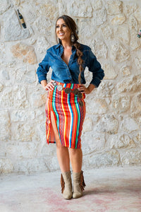 L&B Red Aztec Skirt Mid Length w/ Slit