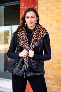 L&B Faux Leopard Fur & Black Sequin Vest