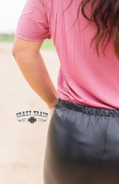 Crazy Train SASSY SIDE SHORTS *** BLACK (Faux Leather Look)