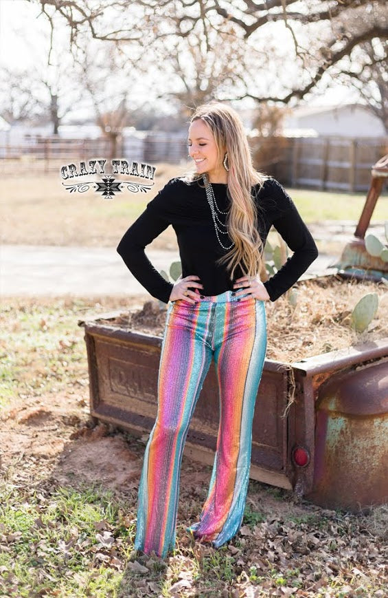 Crazy Train STAYIN' ALIVE FLARES ** SEQUIN SERAPE Pants