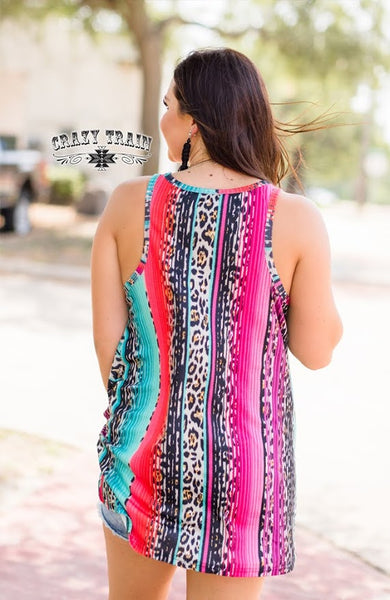 Crazy Train Tatum Tank Leopard & Serape (RUNS BIG SIZE DOWN)