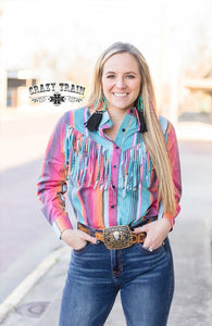 Crazy Train THE RODEO RIG TOP ** SERAPE FRINGE BUTTON DOWN