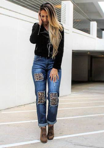 L&B Dark Blue Boyfriend Cut Cuffed Jean with Leopard Patches LB-627