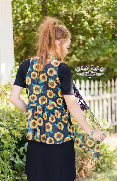 "Crazy Train Sunflower Vest ""Vest Friends Forever"""