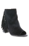 "Volatile ""Stagecoach"" Black Peep Toe Shoe With Fringe"