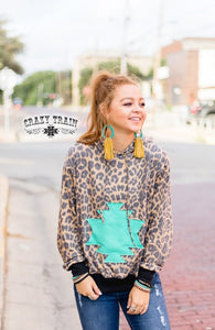 "Crazy Train ""Wild Wayne Hoodie"" Leopard & Turquoise Pocket"