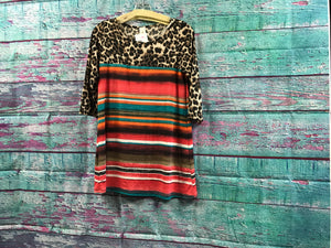 Leopard Serape Top with Lace on the Back