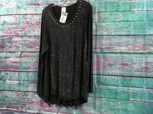 Vocal Charcoal L/S Top with Studs & Brads