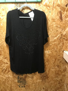 Vocal Black s/s top with stones