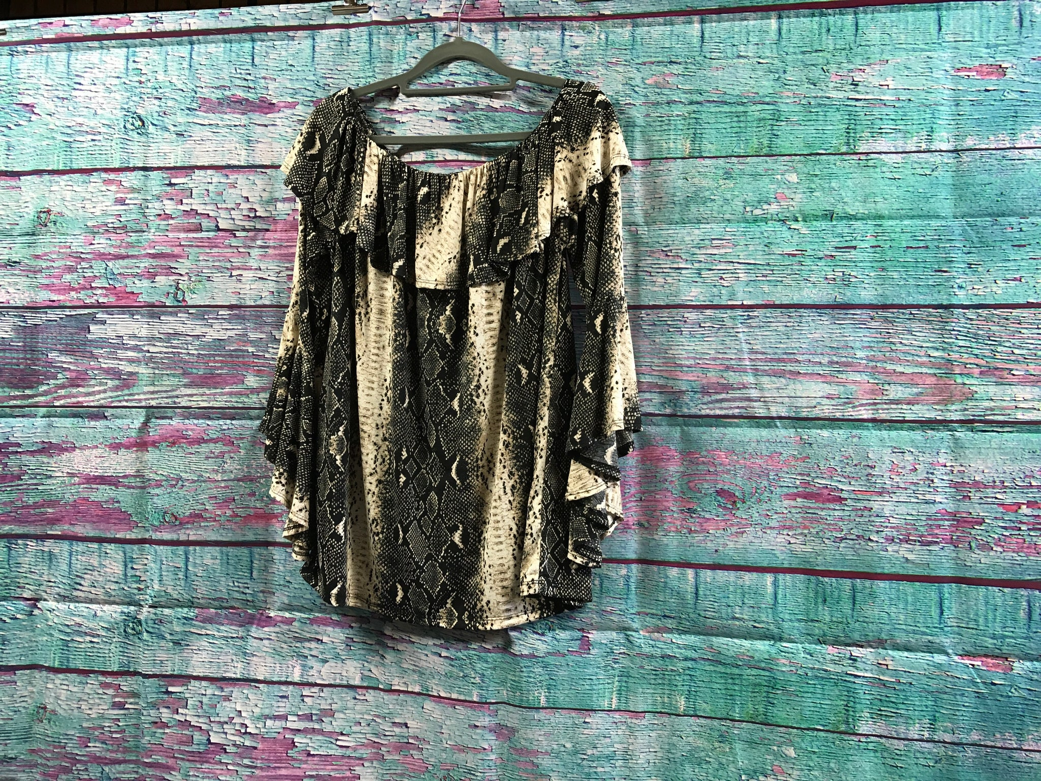 L&B Snakeskin Design Ruffle Off Shoulder Top