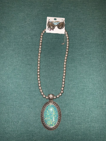 Cheekys Silver bead necklace w/ Large Turquoise Oval Pendant & Small Silver oval earrings