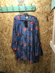 L&B Blue Steer Head Floral Short Cardigan