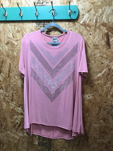Vocal Mauve S/S Top with Rhinestones