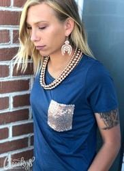 Cheekys brand Navy Top with Sequin pocket Junior fit