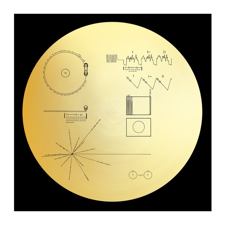 VOYAGER GOLDEN RECORD GOLD FOIL ART PRINT