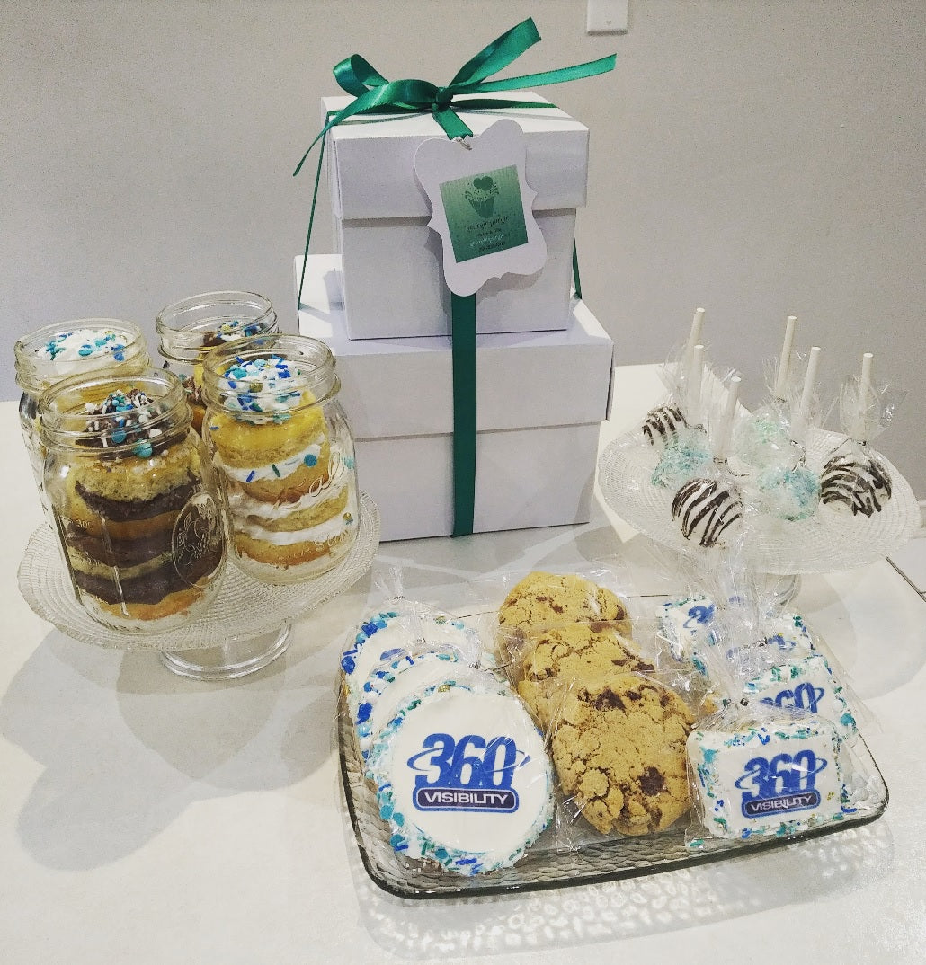 Custom Corporate Gift Box - Cakes, cookies & cupcakes,  Dessert Tower - cupcakes, cakes, cookies, Georgie Porgie Cakes & Gifts - Georgie Porgie Cakes & Gifts