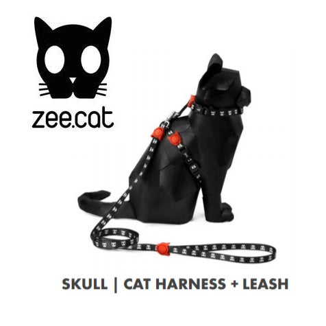 SKULL HARNES & LEASH ZEECAT