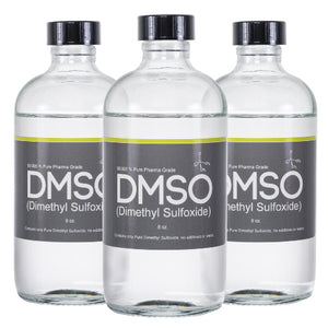 DMSO Dimethyl Sulfoxide Odorless 3 Glass 8 oz. Bottle Special 99.995% Pure Pharma Grade